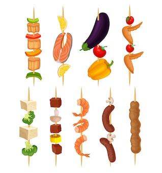 Set of kebabs on a wooden skewer