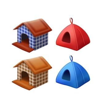Set of kennels, pet houses 3d illustrations
