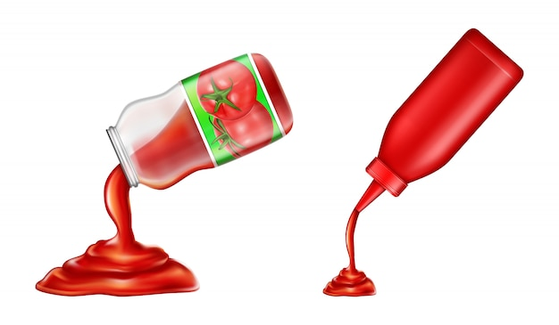 Set of ketchup - in plastic bottle and glass jar in 3d style. red tomato condiment Free Vector