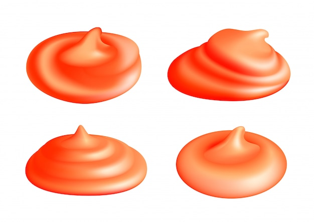 Set of ketchup splash or tomato sauce blobs isolated