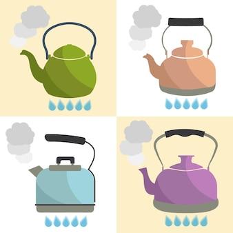 Set of kettle boils with water flat style vector illustration. kitchen utensils stock illustration.
