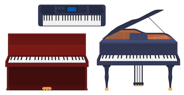 Set of keyboard musical instruments, piano, grand piano, synthesizer isolated on a white background.