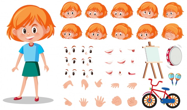 Set of kid character with different expressions on white