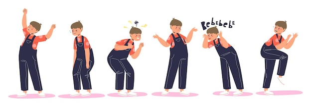 Set of kid emotion: happy, abused crying, furious and angry, confused, naughty, frightened and scared. small boy child in different emotional expressions. cartoon flat vector illustration