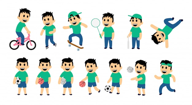 Set of kid street and sport activity. funny boy in different action poses. colorful   illustration.  on white background.