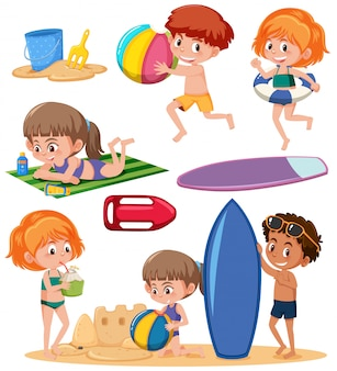 Set of kids and beach element