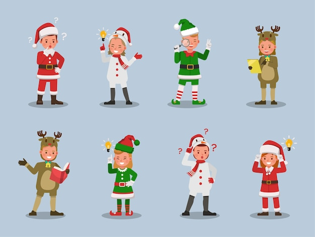 Set of kids boy and girl wearing christmas costumes character