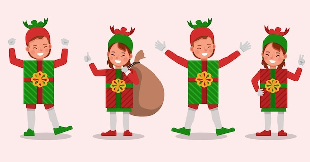 Set of kids boy and girl wearing christmas gift box costumes character