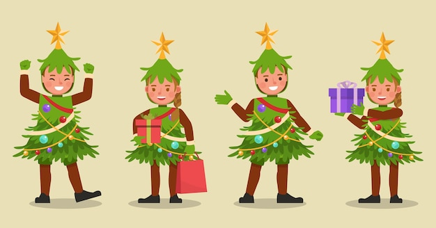 Set of kids boy and girl wearing christmas tree costumes character vector design. presentation in various action with emotions. no9