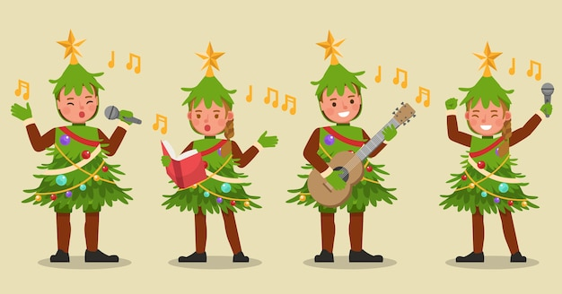 Set of kids boy and girl wearing christmas tree costumes character
