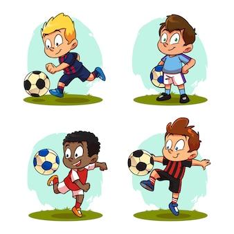 Set kids cartoon playing football