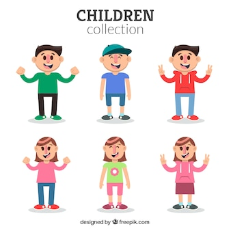 Set of kids characters with happy faces