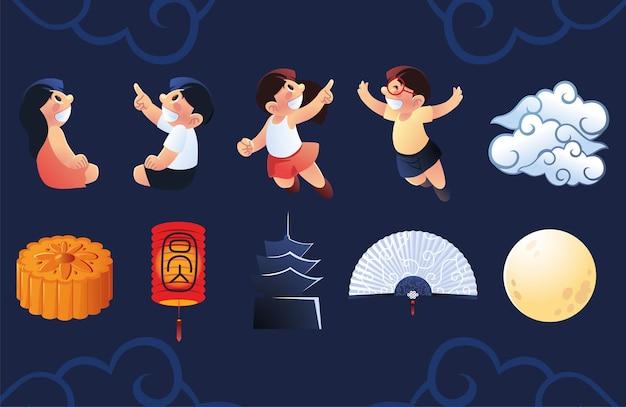 Set of kids and chinese celebration