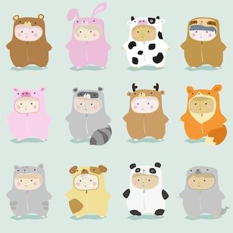 Set of kids in cute animal costumes