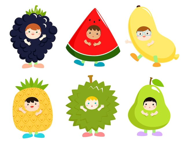Set of kids in cute fruit costumes vector illustration.