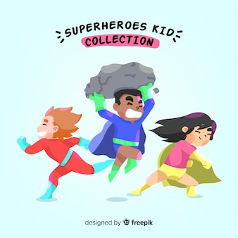 Set of kids dressed as superheroes