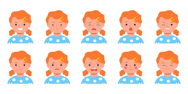 Set of kids emotionsfacial expressionflat girl avatar vector illustration of flat child character