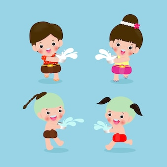Set of kids enjoy splashing water in thai songkran festival