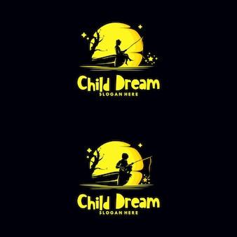 Set of kids fishing stars in the moon logo
