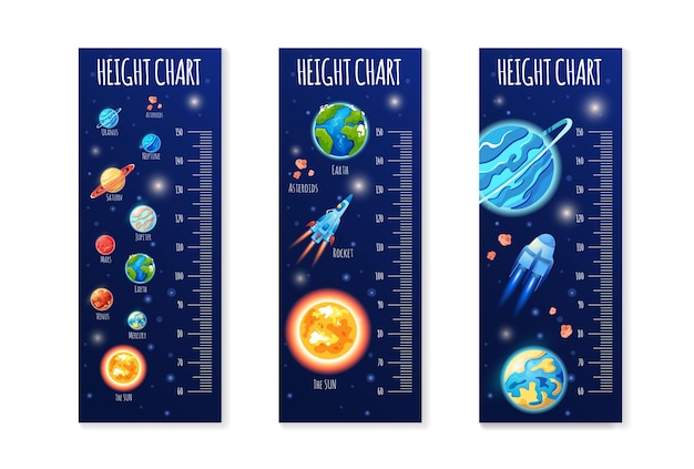 Set of kids height chart cute scale measurement for children grow baby measure meter