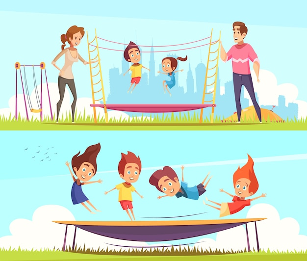 Set of kids jumping on trampolines