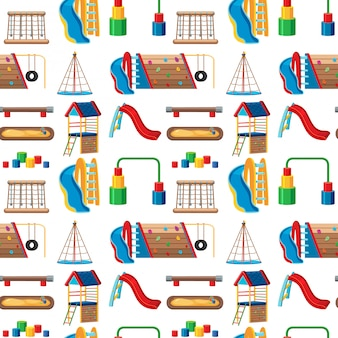 Set di giochi per bambini nel parco senza soluzione di continuità