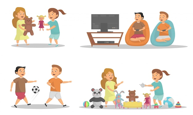 Set of kids playing activity at home concept