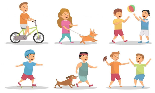 Set of kids playing and activity at park vector illustration concept