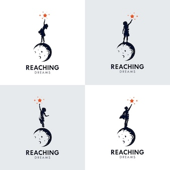Set of kids reach dreams logo with moon symbol, reaching star logo