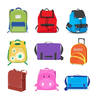 Set of kids school bags isolated