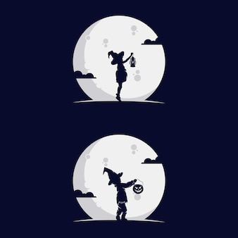 Set of kids silhouette with moon.