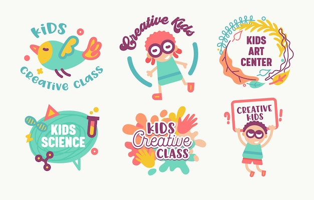 Set kids sticker, creative class, isolated on white background.