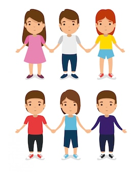 Set kids together with casual clothes and play