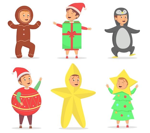 Set of kids use cute costume at christmas season illustration