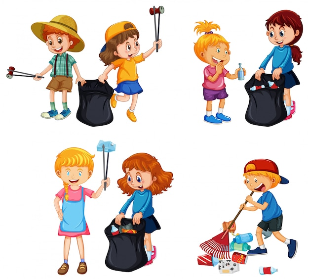 A set of kids volunteering cleaning up