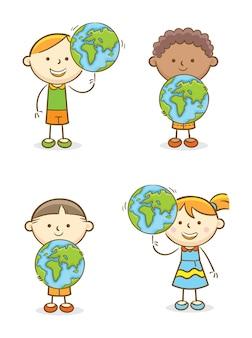Set of kids with globe