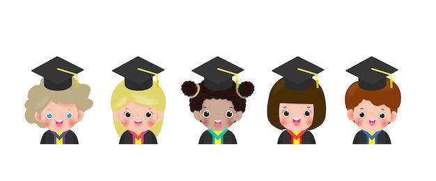 Set of kids with graduation cap