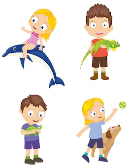 Set of kids with pet