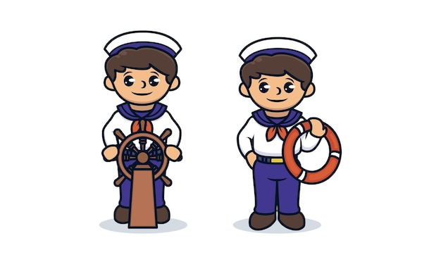 Set of kids with sailor costume mascot design