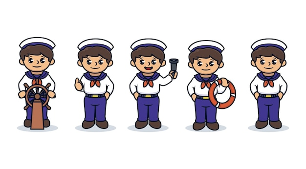 Set of kids with sailor costume