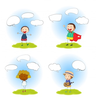 Set of kids with speech bubbles