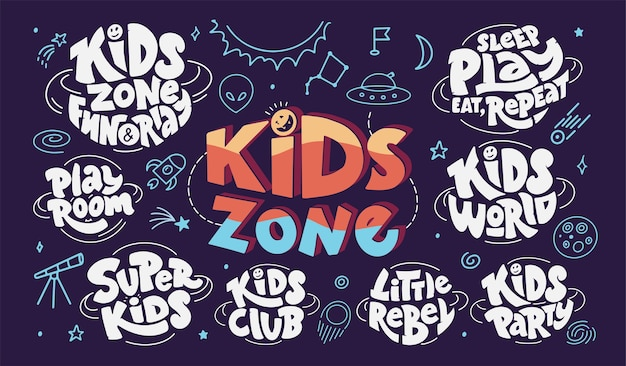 Set of kids zone lettering and space doodles.