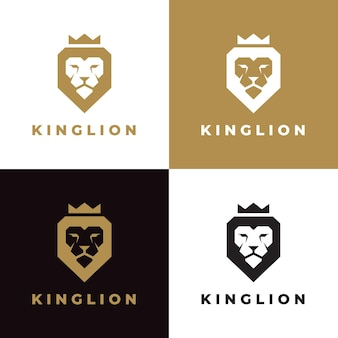 Set of king lion crown logo template