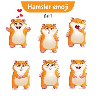 세트 키트 컬렉션 스티커 이모티콘 이모티콘 감정 고립 된 그림 행복 문자 달콤한, 귀여운 햄스터