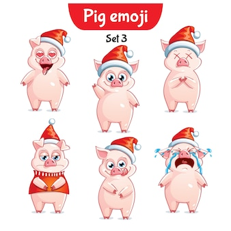 Set kit collection sticker emoji emoticon emotion vector isolated illustration happy character sweet, christmas pig