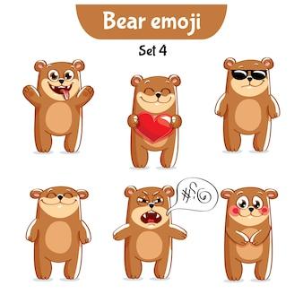 세트 키트 컬렉션 스티커 이모티콘 감정 벡터 고립 된 그림 행복 문자 달콤한, 귀여운 갈색 곰