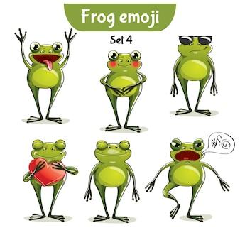 세트 키트 컬렉션 스티커 이모티콘 이모티콘 감정 벡터 격리 된 그림 행복 문자 달콤한, 귀여운 개구리