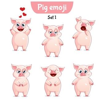 セットキットコレクションステッカー絵文字絵文字感情ベクトル孤立したイラスト幸せなキャラクター甘い、かわいい豚
