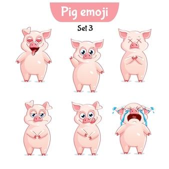 세트 키트 컬렉션 스티커 이모티콘 이모티콘 감정 벡터 고립 된 그림 행복 문자 달콤한, 귀여운 돼지