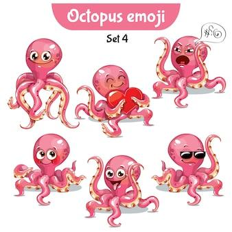 Набор стикеров коллекции смайликов смайликов эмоции вектор изолированных иллюстрация счастливый персонаж сладкий, милый розовый осьминог